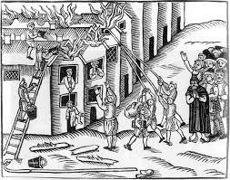 Tiverton 1612 Fire. Using Firehooks.